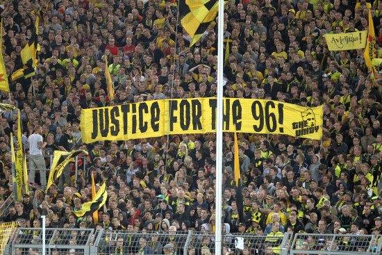Borussia Dortmund Fans Show Support For The Hillsborough 96